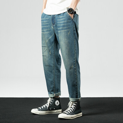 新款夏季薄款牛仔裤黑色小字母印花XZ304B-2-K238P60