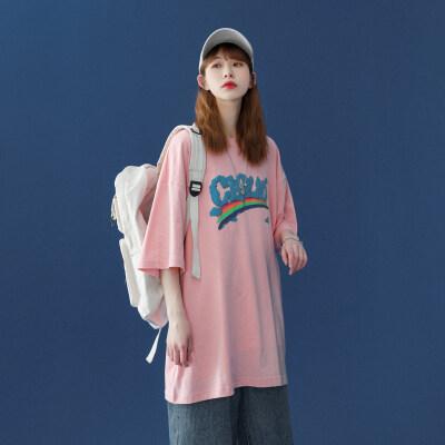 中性风!2021夏装新品宽松百搭圆领短袖情侣大码彩虹T恤ZM87-P38