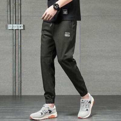 891# 灰瓷砖背景 新款男士松紧腰束脚微哈休闲裤