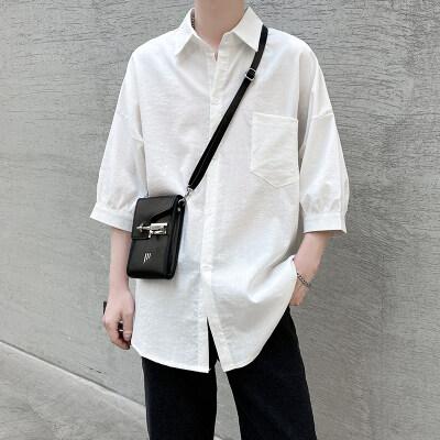 2021夏新款短袖男衬衫纯色大码休闲衬衣A266-901-P38