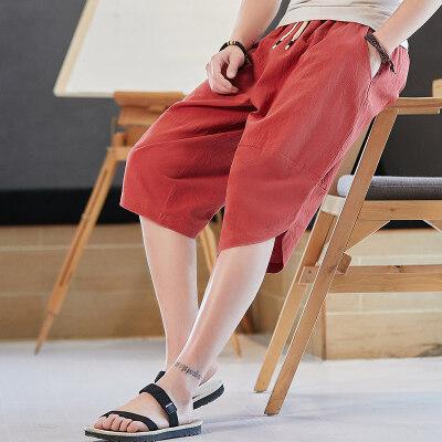 纯棉夏薄款七分裤中国风亚麻短裤男大码阔腿休闲裤哈伦裤K008-P23