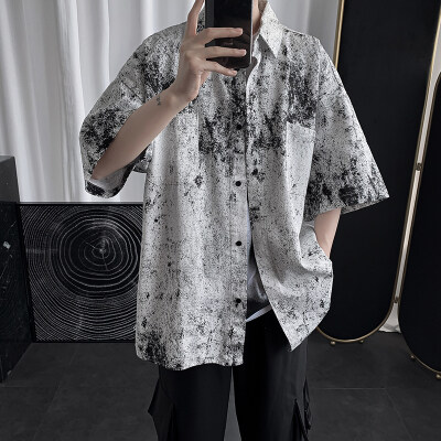 夏季扎染五分袖衬衫男潮牌港风韩版潮流短袖衣服C24-P35