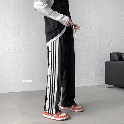 排扣裤子男运动纽扣休闲长裤侧排扣阔腿裤篮球裤直筒条纹宽松裤子