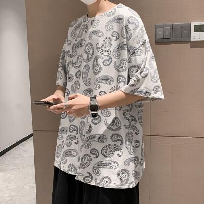 2021新款宽松港风短袖五分袖韩版夏装高街腰果花短袖T恤潮流P20