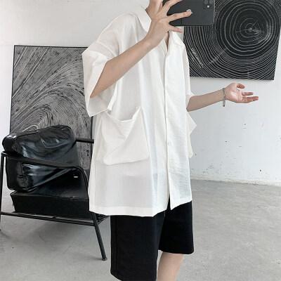 宽松大码男装棉麻五分袖立体口袋衬衫男士休闲短袖T恤 C32 P30