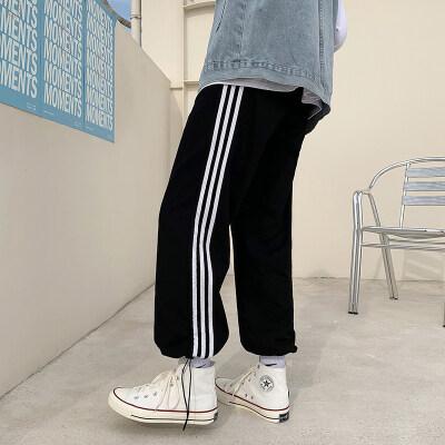 运动裤男宽松直筒韩版潮流很仙的裤子痞帅春夏休闲条纹束脚九分裤