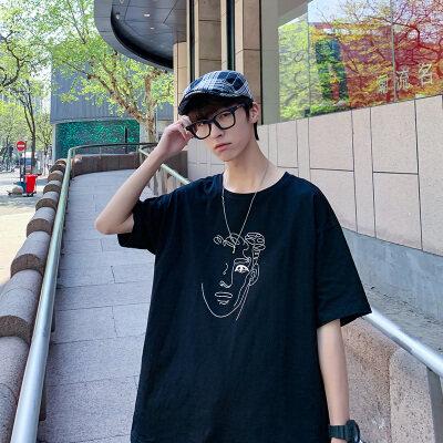 原创2021韩版夏新款男士圆领男士短袖T恤合集