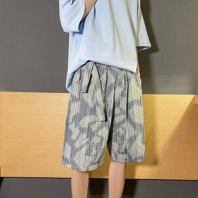 新型面料港风五分裤男牛仔短裤牛仔裤宽松休闲裤男D246-N106-P40