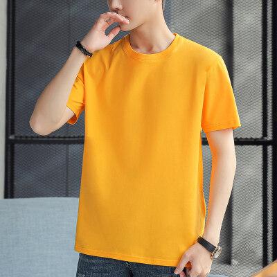 短袖男士纯色圆领半袖纯棉打底衫黄上衣服体恤定制1602 G100 P15
