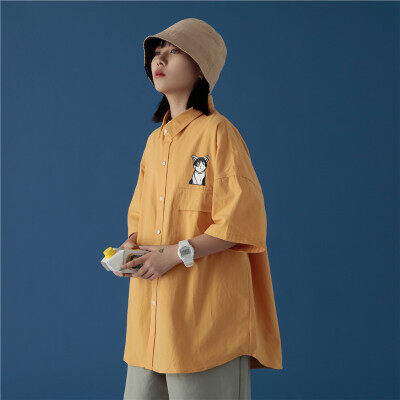 714-1-C16-P50 新款中性风棉短袖印花男女衬衫不起球休闲G