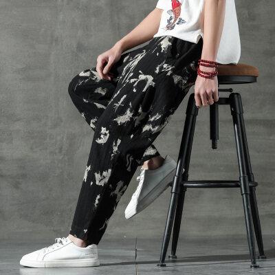 2021新款中国风棉麻阔腿裤男扎染泼墨直筒长裤4031-AK85-P75 控85