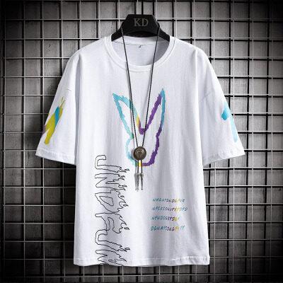 72216-P35男士纯棉短袖t恤潮牌夏季韩版学生潮流男装上衣服宽松
