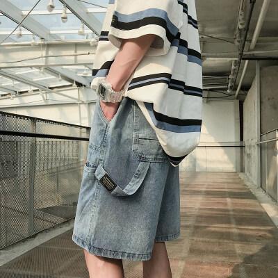 牛仔短裤男夏季港风工装裤五分裤牛仔裤A473-DK23-P55