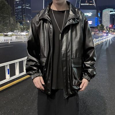 港风秋冬黑色pu皮衣夹克男韩版潮流外套  PY2028/P95