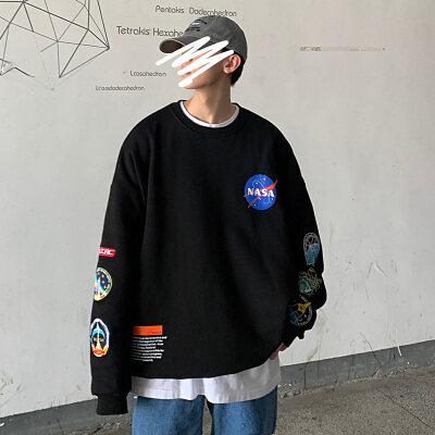 WS02`重工艺刺绣圆领套头宽松大码卫衣男P58黑色 控75
