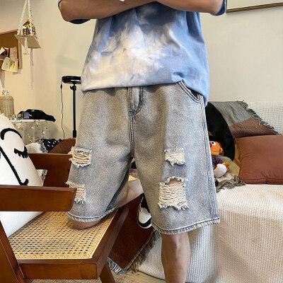 五分裤新款破洞牛仔短裤牛仔裤宽松休闲裤港风男D246-N114-P40