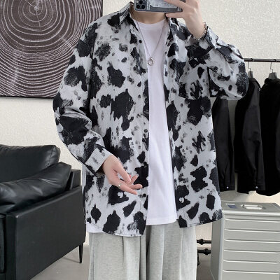21春装宽松垂感韩系长袖衬衫温柔宽松休闲奶牛印花衬衣W1047 P35
