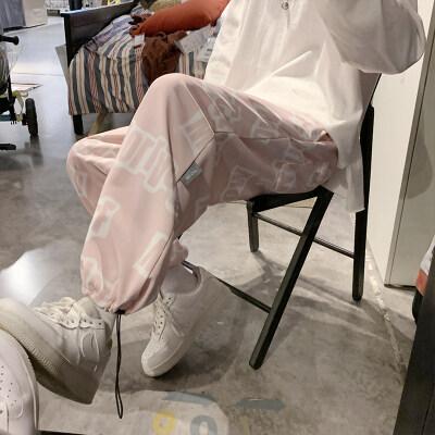 中性休闲裤男女ins潮牌涂鸦印花束脚裤韩版运动裤子男K1822-P35