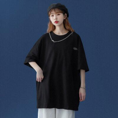 2021夏季新款短袖t恤女宽松潮流上衣 送项链 D025 P30