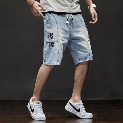 牛仔短裤男宽松夏天士五分裤潮流青少年休闲短裤薄款P35