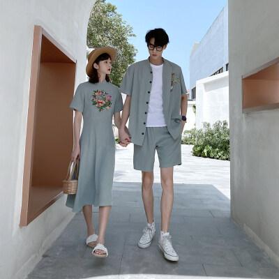 2021夏季情侣装连衣裙中国风棉麻旗袍男衬衫短裤套装617C-803P75