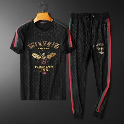 男士套装2021夏季新品时尚休闲短袖套装两件套22130 P205
