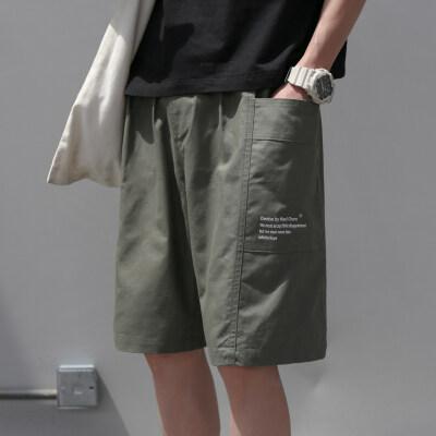 夏季日系休闲短裤男夏宽松直筒五分裤工装短裤男潮牌港风K326-P40