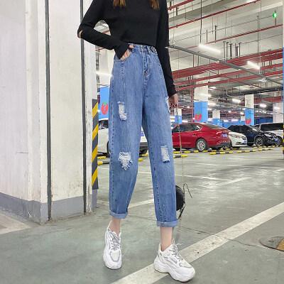 实拍破洞牛仔裤女2020新款哈伦裤DF9190P50