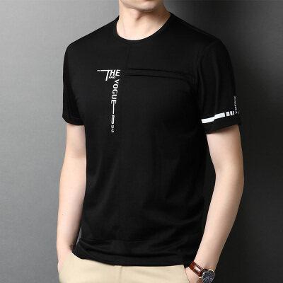 F2662钱塘2020-1春夏精品纯棉百分百短袖圆领T恤男装半袖休闲P57