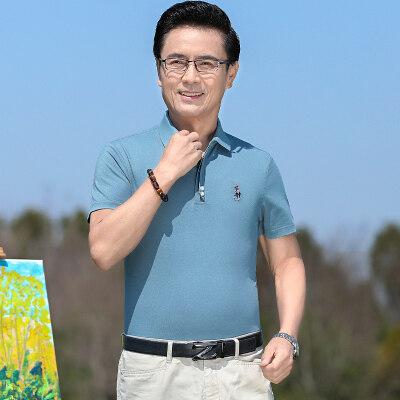 中年爸爸夏装刺绣休闲polo衫中老年男士薄款棉短袖t恤282P60
