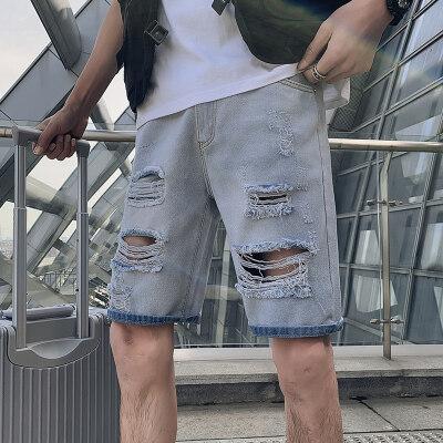 2021男夏季短裤韩版潮流牛仔裤五分裤破洞潮流5分裤网红NZ24-p40