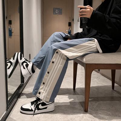 夏装ins拼色格子韩版宽松排扣直筒垂感阔腿休闲长裤D309A-P35