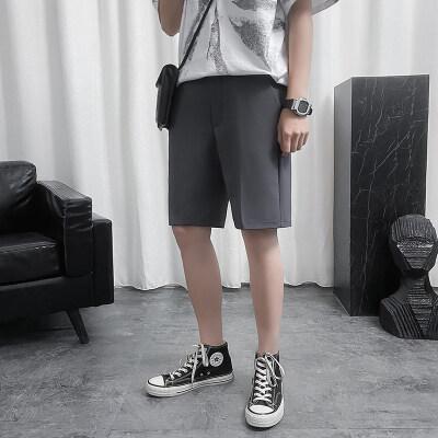 2021夏季新款港风西装中裤五分裤休闲裤宽松短裤西裤男 K223 P30