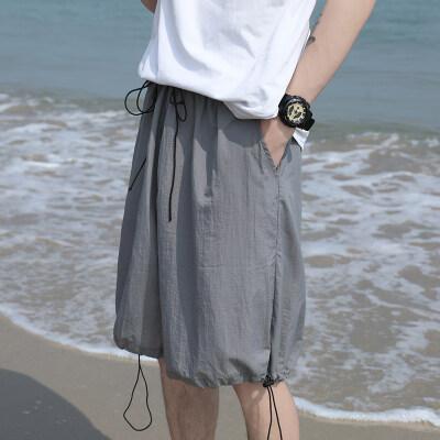 2021夏季新款抽绳休闲五分裤速干纯色薄款短裤 B321—DK168—P38