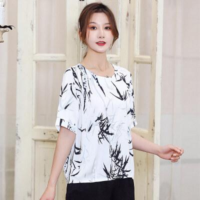 2021妈妈装洋气舒适T恤新款百搭短袖上衣气质套头小潮衫L2790/P55