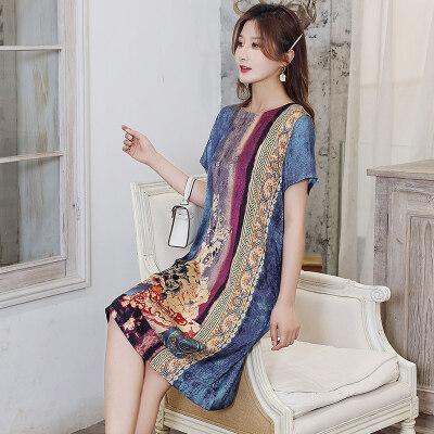 连衣裙女夏季2021年新款减龄显瘦气质遮肚舒适宽松裙子 L2795/P75