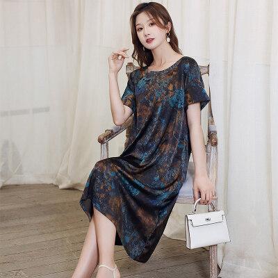 妈妈夏装连衣裙2021短袖高贵新款洋气舒适遮肚女装裙子 L2796/P75