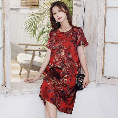 2021新款妈妈装舒适透气洋气连衣裙贵太太遮肚减龄裙子 L2797/P75