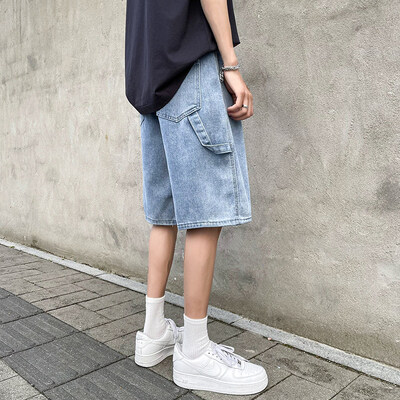 夏季薄款牛仔短裤男2021年新款潮牌港风直筒宽松五分裤子男士p35
