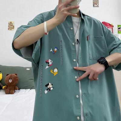 雾霾蓝大码印花中国风休闲男新款青年短袖衬衫(图案已注册)p27