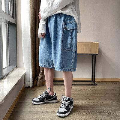 2021夏季新款中国风大码男休闲宽松多袋灯笼牛仔短裤ND8205-P45