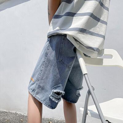 夏季破洞牛仔短裤男士i潮牌港风休闲宽松百搭五分中裤韩版潮流p32