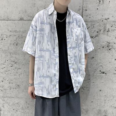 XZ203-CS05-P45 21夏季新品宽松清凉面料短袖衬衫