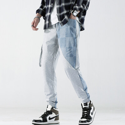 B328/203/P88 日系春夏休闲针织拼接卫裤