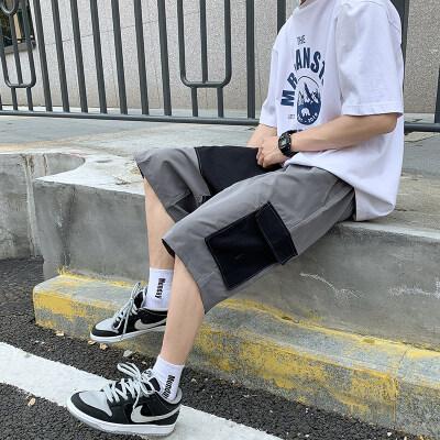 男士休闲休闲拼色短裤五分裤大裤衩中腰休闲沙滩裤短裤K008P25