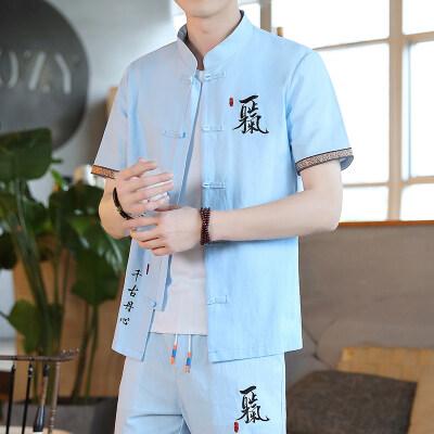 夏季中国风棉麻套装男士盘扣汉服复古风潮牌唐装一套衣服YK11-P55