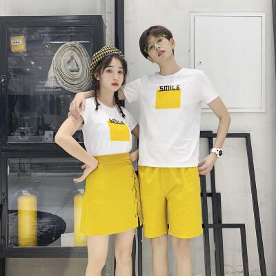 2021新款夏季情侣装套装T恤短裤男女短裙班服定制617C-8021P55