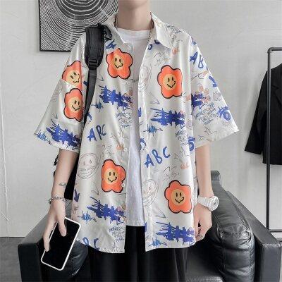 2021潮流夏季港风青少年短袖宽松青春休闲衬衣   C7701  P45