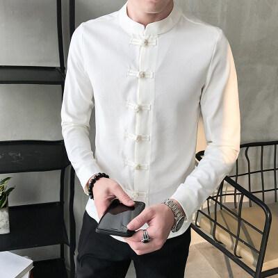 长袖唐装男青年修身中式衬衣盘扣中国风上衣汉服中山装居士服衬衫