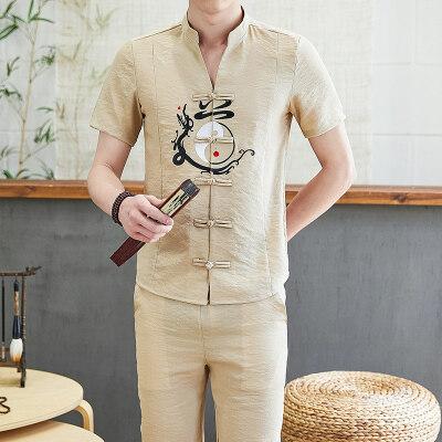 夏季中国风亚麻套装男2021新款唐装短袖两件套潮流休闲TZ026-P50